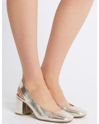 Marks & Spencer - Wide Fit Block Heel Slingback Court Shoes - Lyst