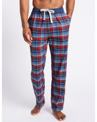 Marks & Spencer - Pure Cotton Checked Long Pyjama Bottoms - Lyst