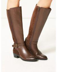 af055c2caf58 Marks & Spencer - Leather Block Heel Strap Knee Boots - Lyst