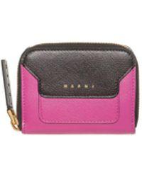 Marni - Mini Wallet In Fuxia Saffiano Calfskin - Lyst
