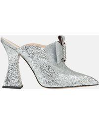 Mary Katrantzou - Porthos Mule Glitter Silver - Lyst
