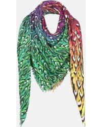 Mary Katrantzou - Modal Cashmere Scarf Rainbow Feathers - Lyst