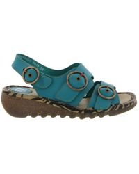 Fly London - Tear Leather Wedge Buckle Sandals - Lyst