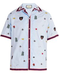 Gucci - Motif Embroidered Bowling Shirt - Lyst