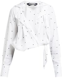 Jacquemus Figari Embroidered Cropped Shirt - White