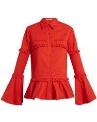 Preen Line - Suki Ruffle Trimmed Cotton Shirt - Lyst