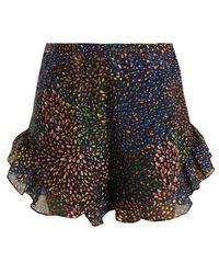 Chloé - - Abstract Print Ruffle Trimmed Shorts - Womens - Navy Multi - Lyst