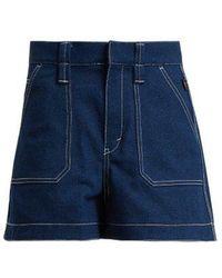 Chloé - Contrast-stitch High-rise Denim Shorts - Lyst