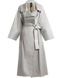 Norma Kamali - Tie-waist Reflective Trench Coat - Lyst