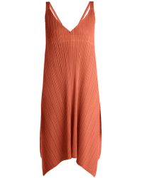 Pleats Please Issey Miyake - Pleated V-neck Dress - Lyst