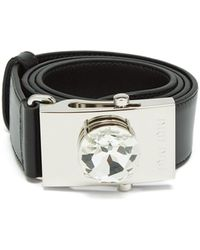 Miu Miu - Crystal Buckle Leather Belt - Lyst