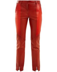 Givenchy - Contrast-panel Skinny Leather Cropped Trousers - Lyst