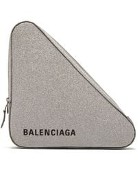 Balenciaga - Triangle Pochette M Glittered Leather Clutch - Lyst