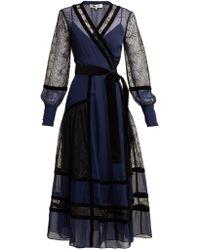 Diane von Furstenberg - Forrest Lace Panel Wrap Dress - Lyst