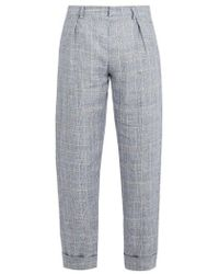 Maison Kitsuné - Checked Linen Cropped Trousers - Lyst