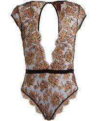 Coco De Mer - Ametrine Silk Blend Chantilly Lace Bodysuit - Lyst