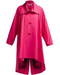 Issey Miyake Oversized Pleated Collar Canvas Overcoat - Pink