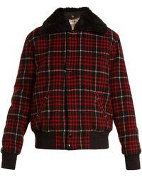 Saint Laurent   Checked Wool-blend Bomber Jacket   Lyst