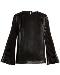 Christopher Kane - Pleated-sleeved Silk-blend Top - Lyst