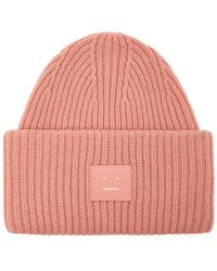Acne Studios - Pansy N Face Ribbed Knit Wool Beanie Hat - Lyst