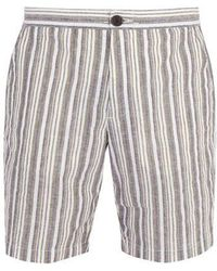 Oliver Spencer - Striped Cotton And Linen-blend Shorts - Lyst