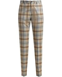 CONNOLLY - High Waisted Checked Wool Blend Trousers - Lyst