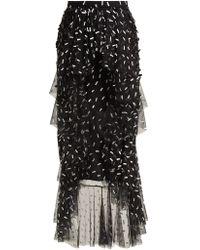 Rodarte - Asymmetric Floral And Bow-appliqué Tulle Skirt - Lyst