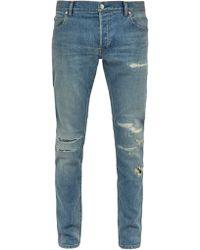 Balmain - Distressed Mid Rise Skinny Jeans - Lyst
