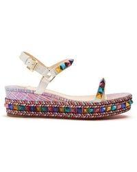 67d7acaedc27 ... best price christian louboutin pyraclous leather flatform sandals lyst  f1a26 13ab2