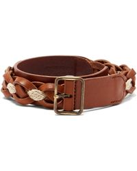 Saint Laurent - Braided Leather And Rope Belt - Lyst
