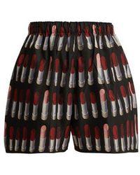 Prada - Lipstick-print Nylon-gabardine Shorts - Lyst