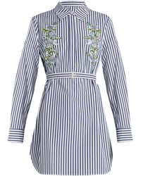 Adam Lippes - Floral-embroidered Pinstriped Shirtdress - Lyst