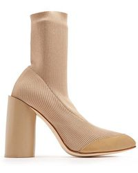 Toga - Heel Knit Leather-trimmed Ankle Boots - Lyst