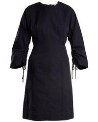 Stella McCartney - Indigo Round Neck Ruched-sleeve Cocoon Dress - Lyst