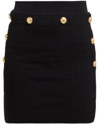 Balmain - High Rise Ribbed Knit Skirt - Lyst