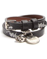 Alexander McQueen - Skeleton-print Double-wrap Leather Bracelet - Lyst