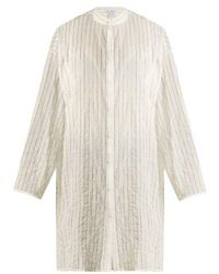 Raey - Split-side Striped Sheer-cotton Shirtdress - Lyst