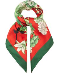 Gucci - Gg Belts And Floral Bouquet Print Silk Scarf - Lyst