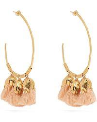 Elise Tsikis - Choras Gold Plated Tassel Hoop Earrings - Lyst