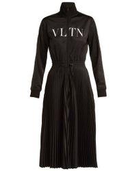 Valentino - - Vltn Pleated Jersey Midi Dress - Womens - Black - Lyst