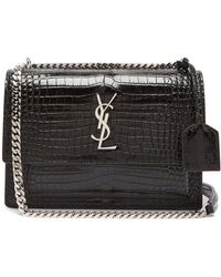 Saint Laurent - Sunset Crocodile-effect Leather Cross-body Bag - Lyst