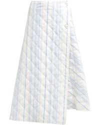 Jil Sander - Striped Quilted Twill Wrap Skirt - Lyst