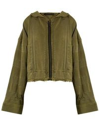 Haider Ackermann - - Polonium Hooded Zip Through Cotton Sweatshirt - Womens - Khaki - Lyst