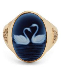 Jacquie Aiche - Diamond, Agate & Yellow-gold Ring - Lyst