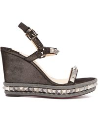 3f996459ae90 Christian Louboutin Madmonica 60 Spike Wedge Sandals in Metallic - Lyst