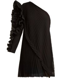 Givenchy - One-shoulder Pleated Silk-georgette Dress - Lyst