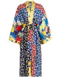 Duro Olowu - Nina Contrast-panel Silk And Crepe Kimono Dress - Lyst