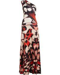 Alexander McQueen - Butterfly-print One-shoulder Silk-satin Gown - Lyst