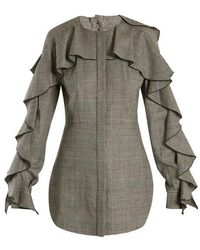 Sara Battaglia - Prince Of Wales-checked Wool-blend Top - Lyst
