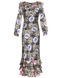 Duro Olowu - Zanzibar Flower-Print Silk Dress - Lyst